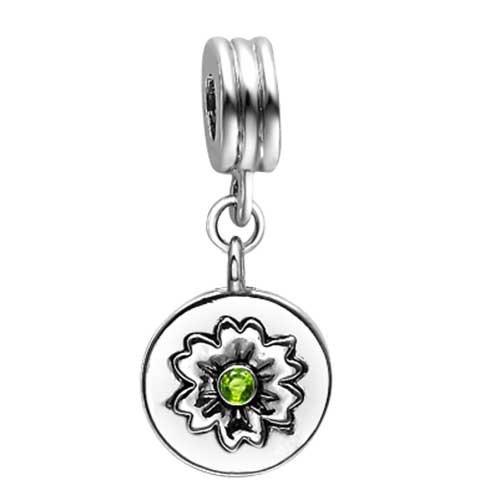 Dance themes Jazz Dancer Bead charm Peridot Crystal August Birthstone Flower Dangle Charm Bracelets
