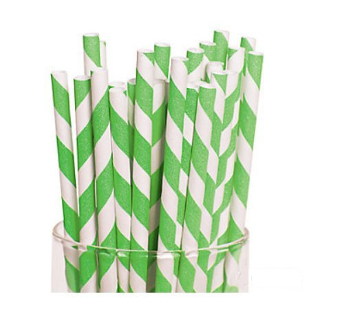 Lime Green Striped Paper Straws-12 ct