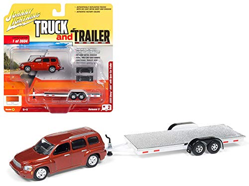 2006 Chevrolet HHR Daytona Metallic Orange w/Chrome Open Car Trailer Limited Edition to 3,604 Pieces Truck and Trailer Series 3 1/64 Diecast Model Car by Johnny Lightning JLBT008/ JLSP035 B