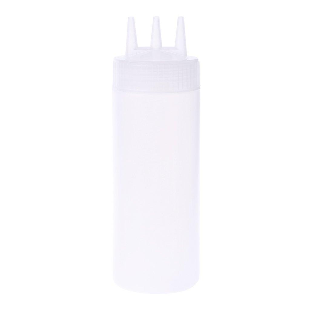 Milue 3 Hole Squeeze Bottle Condiment Dispenser Sauce Vinegar Oil Ketchup Cruet Bin (White) by Milue (Image #1)