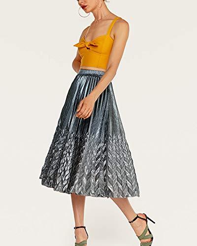 Taille Femme Vintage Jupe Longue Argent Plisse Jupes Haute Chic Mengmiao 5wBEqTq
