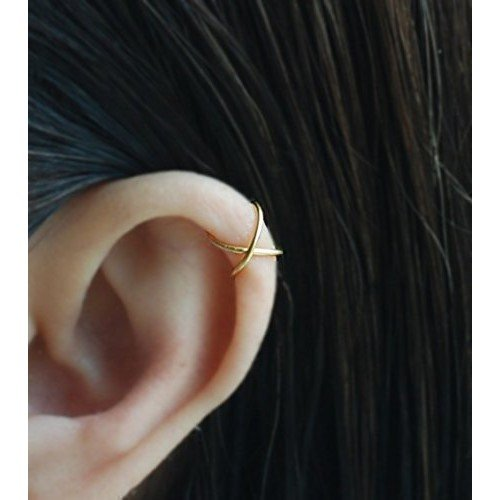 14K Yellow Gold Filled, Sterling Silver 20gauge Criss Cross X Ear Cuff, Cartilage earring, Fake conch piercing,Boho jewelry, Cartilage earring / Please select an option