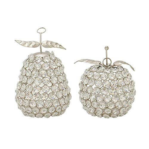 (Cole & Grey 2 Piece Silver Metal Acrylic Apple Pear Sculpture Set + Free Basic Design Concepts Expert Guide)