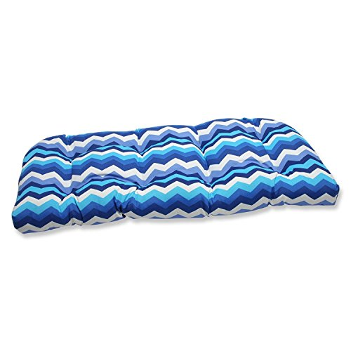 "44"" Rayas Azules Blue, Navy and White Chevron Striped Outdoor Patio Tufted Wicker Loveseat Cushion"