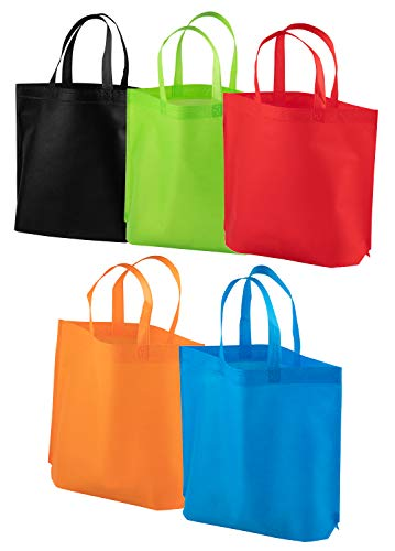 Party Favor Bags with Handles - 20-Pack Reusable Non-woven Gift Bags, Colorful Tote Bags for Goodies, Treats, Groceries, Great for Kids Birthday Party, 5 Assorted Colors, 14.8 x 12.5 x 3.9 Inches
