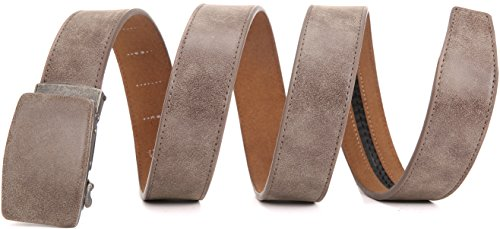Marino Ratchet Belts for Men, Suede Genuine Leather Dress Belt with Automatic Slide Buckle, 1.5
