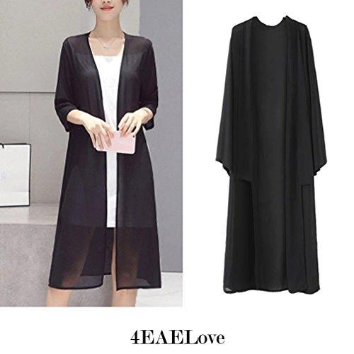 Foreverlove Chiffon Cardigan Cover Up Women's Black Kimono Coverage Blouse Bat Sleeve Swimsuit Bathing Suit Long Maxi Beach Dress One Size Plus Size