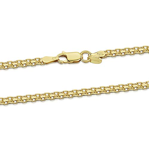 (Amberta 18K Gold Plated on 925 Sterling Silver 2.2 mm Bismark Chain Necklace Length 24