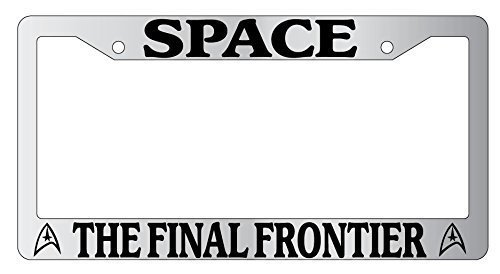 Jesspad - Frames Space The Final Frontier Chrome Metal License Plate Frame Star Trek, Auto License Plate Holder -