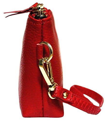 Kukubird Premium Brillante Cuero Genuino Superior Solo Con Correa Asa Monedero Embrague Red