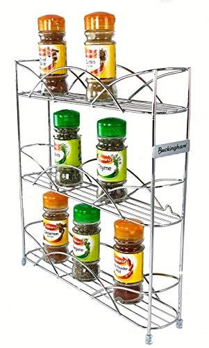 Kitchen Buckingham 3 Tier Free Standing Spice & Herb Rack Jar Holder Organiser Storage, Metal, Chrome, 33 cm spice racks