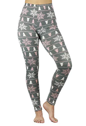 Just One Womens Christmas Leggings Soft Brushed Xmas Winter Tree Snowflakes, Grey Pink White Small