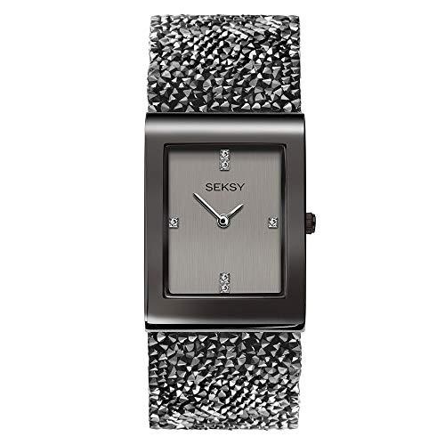 Women's Gunmetal Grey with Grey Swarovski Crystal Bracelet Watch, Water Resistant, Extra Clasps, Seksy Rocks Collection by Sekonda (Gunmetal/Slate Grey Dial)