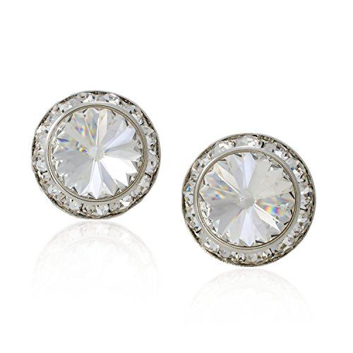 PammyJ Clear 20mm Crystal Framed CLIP-ON Earrings ()