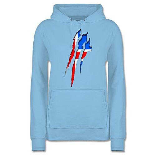 Shirtracer Länder - Island Krallenspuren - Damen Hoodie Hellblau