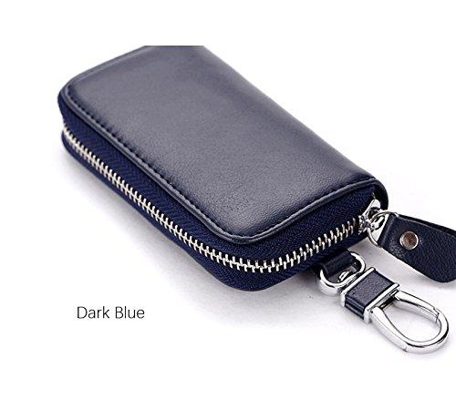 Dark Keeper Key (Genuine Cow Leather Men & Women Car Key Bag Wallet Multi Function Key Case Fashion Housekeeper Holders 6 Key Rings (Dark Blue))