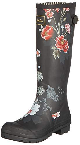 Blkflrl Femme De black Print Floral amp; Pluie Joules Noir Bottes Welly Bottines C5Pqznw0X