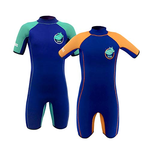 - Team Magnus Kids' Wetsuit - 5mm Neoprene Shorty Extremely Insulating and Comfortable for All-Day Water Fun - Girls' and Boys' Wetsuit Age 3-14 (Devilfish (Navy/Green), 9-10)