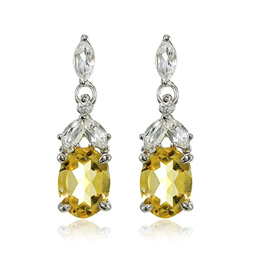 (Sterling Silver Citrine and White Topaz Oval Dangle Earrings)