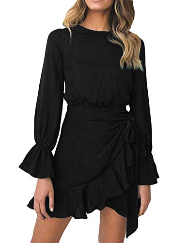 - FOUR CLOUR Women's Sexy Deep V Neck Short Sleeve Ruffle Cocktail Belted Mini Dress (Large, A-Black)