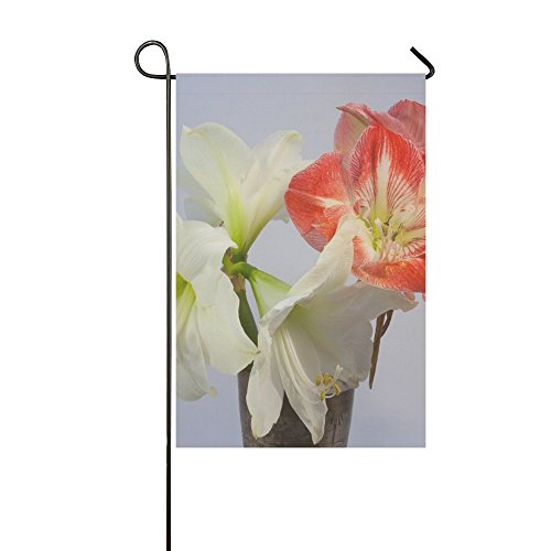 Home Decorative Outdoor Double Sided Amaryllis Red White Blo