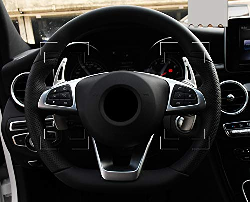HIGH FLYING Car Auto Aluminum Alloy Silver Steering Wheel DSG Paddle shifters Extensions Gear Extensions 2pcs For Vito W47//V Class//E Class//GLC Class 2016-2019 Car Accessory