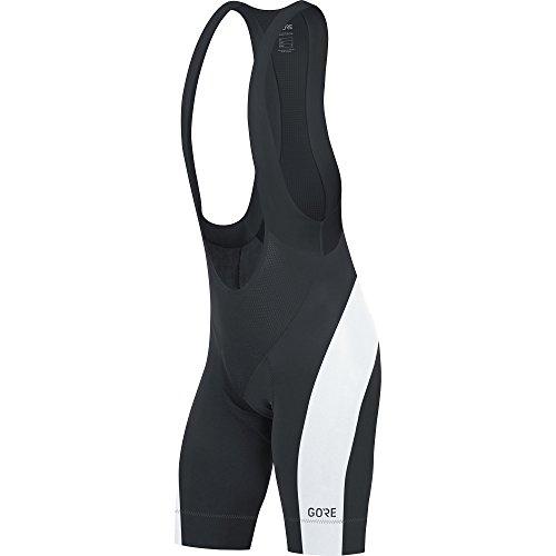 GORE Wear Men's Breathable Road Bike Bib Shorts, With Seat Insert, GORE Wear C5 Bib Shorts +, Size: XL, Color: Black/White, ()