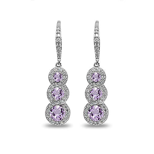 Sterling Silver Amethyst Journey Halo Three-Stone Dangle Leverback Earrings