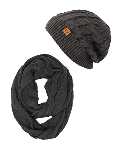 Wrapables Winter Warm Cable Knit Infinity Scarf Beanie Set