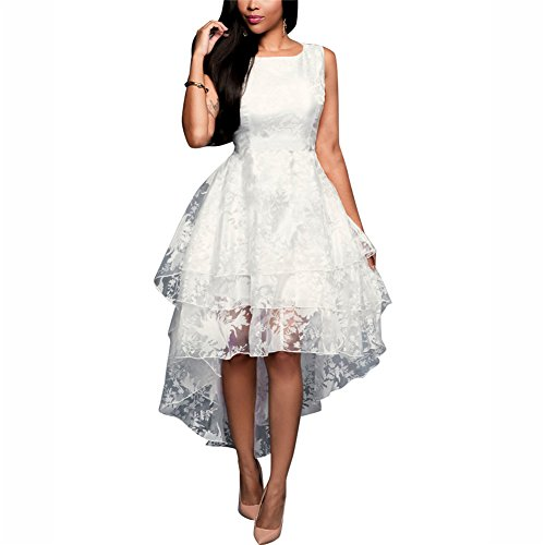 Women's Girls Sexy Elegant Sleeveless Triple layer Grocet Lace High Low Cocktail Party Club Dress Vest Dress