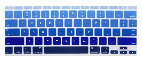 (PapyHall Colorful Silicone Protector Keyboard Cover Skin for Apple MacBook Air 11 inch Keypad Dust-Proof Membrane - Gradient Blue)