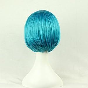 Bopocoko Wigs Short Bob Wig Blue Straight Women Cosplay Wig Halloween Costume Girls Wigs Oblique Bangs 11 Inch BU029