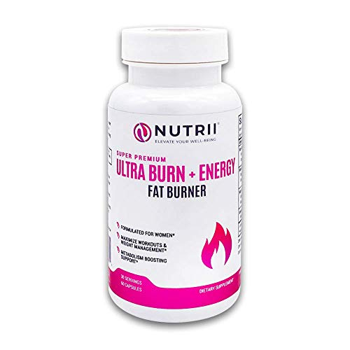 Nutrii Ultra Burn + Energy - #1 Energy + Fat Burner, Appetite Suppressant, Mental Focus, Vegan, Weight Loss Supplement, Increase Energy/Metabolism, Green Tea, Caffeine, CLA, Diet Pill, 60 Capsules