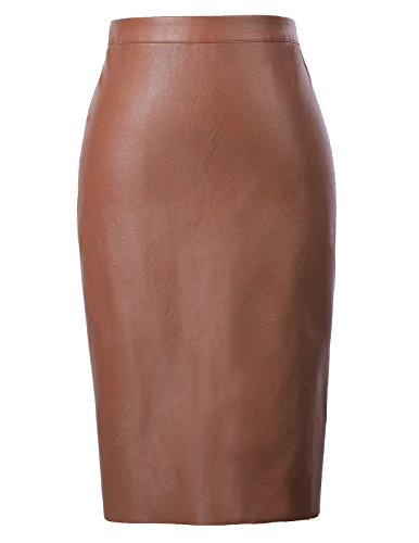 Brown Leather Pencil (Plus Size Brown Pencil Skirts Knee Length XL KK601-5)
