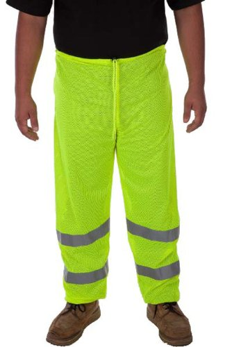 Liberty HiVizGard Polyester Class E Mesh Pant with 2'' Wide Silver Reflective Stripes, X-Large/2X-Large, Fluorescent Lime Green