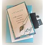 Smiling Wisdom Abalone Leaf - A Season of Joy Gift Set - New Journey Greeting Card - Abalone Leaf Pendant Necklace - Unique - Grad, New Job, Retire, Entrepreneur, Congrats, For Her