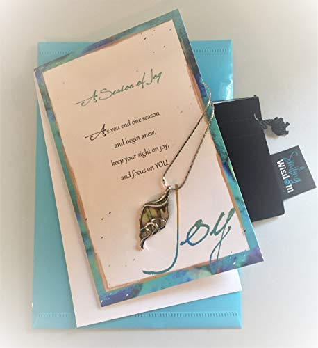 (Smiling Wisdom Abalone Leaf - A Season of Joy Gift Set - New Journey Greeting Card - Abalone Leaf Pendant Necklace - Unique - Grad, New Job, Retire, Entrepreneur, Congrats, For Her )