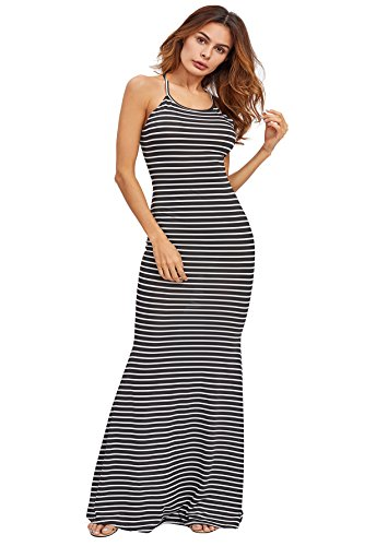 77e4e757c2 SheIn Women's Strappy Backless Sexy Summer Evening Party Maxi Dress Small  Black