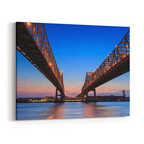 Rosenberry Rooms Canvas Wall Art Prints - The Crescent City Connection Bridge On The Mississippi River in New Orleans Louisiana (14 x 11 inches)