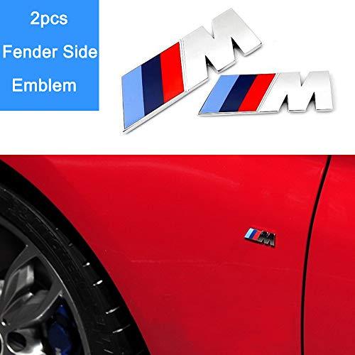 Bailunte Compatible 3pcs BMW M Power Badge Tri Color Rear Emblem Fender Side Emblem Car Decal Logo Sticker for All BMW Accessories