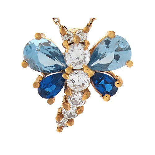 - 14k Yellow Gold Multi-color CZ Charming Dragonfly Slide Pendant