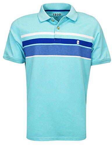 IZOD Men's Advantage Performance Stripe Polo (Regular and Slim Fit), Blue Radiance/477, (Rugby Stripe Mens Polo Shirt)