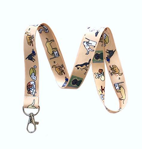 Bad Dogs Print Lanyard Key Chain Id Badge -