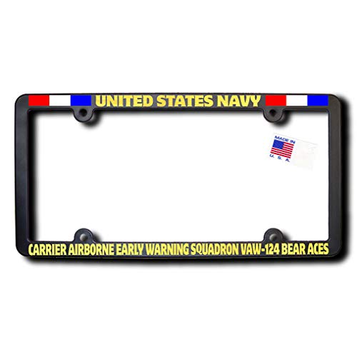(James E. Reid Design USN Carrier Airborne Early Warning Squadron VAW-124 Bear ACES License Frame w/Reflective Gold Lettering w/Ribbons)
