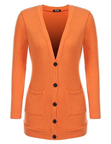 SE MIU Women Casual V Neck Long Sleeve Pockets Solid Button Front Knit Cardigan Sweater, Orange, XX-Large ()