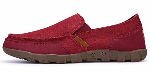DADAWEN Men's Slip-On Deck Boat Shoes Canvas Walking Driving Loafers Red er0nXdjY
