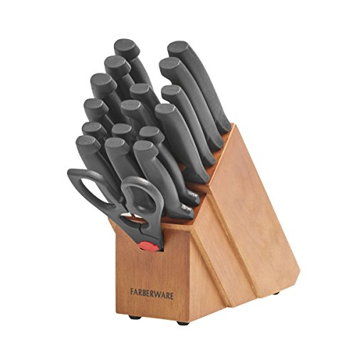 Farberware 20-Piece 'Never Needs Sharpening' Stainless Steel Knife Block Set