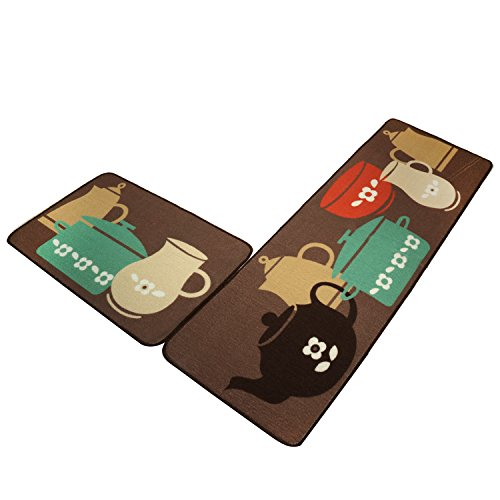 Kitchen Rugs and Mats Set of 2,SHACOS Kitchen Floor Mats Carpet Rubber Back,Anti-skid Runner Rug 20×32 inch+20×59 inch, Pot Bowl Themed