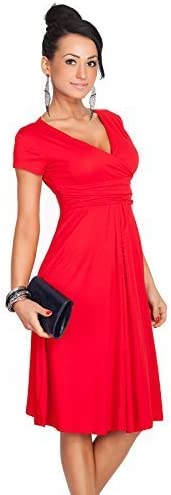 FUTURO FASHION Womens Elegant V Neck Short Sleeve Knee Lenght Wrap Dress Viscose with Cotton 8416