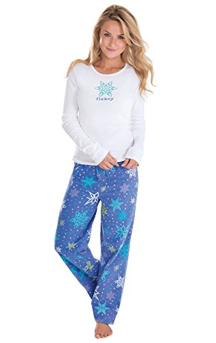 PajamaGram Women's Flakey Flannel Pajamas with Long-Sleev...